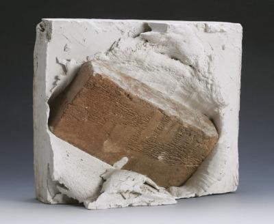 Bricks thrown in plaster I - XII, 12 pieces